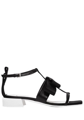 30mm Satin Bow & Leather Sandals