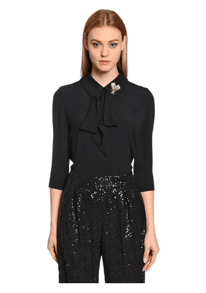 Crepe Envers Satin Blouse W/ Crystal Fly