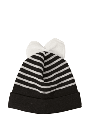 Striped Cotton Blend Beanie Hat With Bow