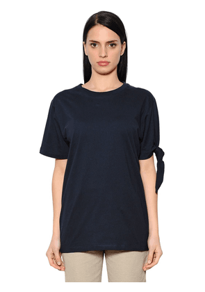 Oversize Knotted Cotton Jersey T-shirt