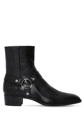 40mm Wyatt Belted Leather Cropped Boots