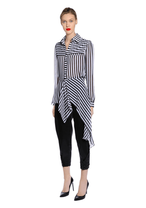 Striped Silk Crepe De Chine Blouse