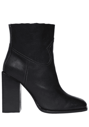 105mm Jodie Raw Trim Leather Boots