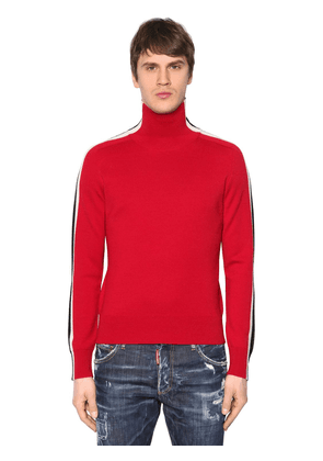 Turtleneck Wool Sweater W/ Stripes