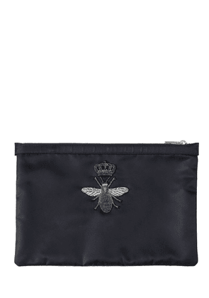 Bee Embroidered Nylon Pouch