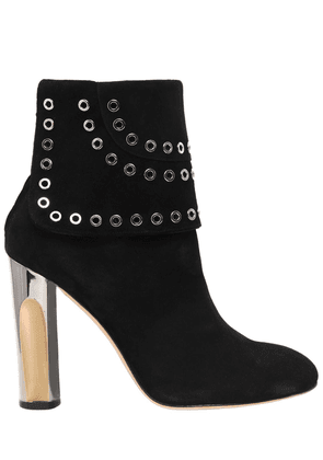 105mm Eyelets Suede Ankle Boots