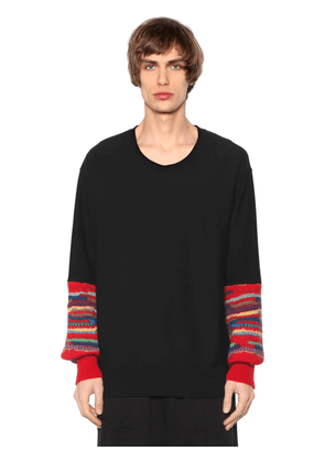 Cotton Jersey Sweatshirt W/ Wool Cuffs