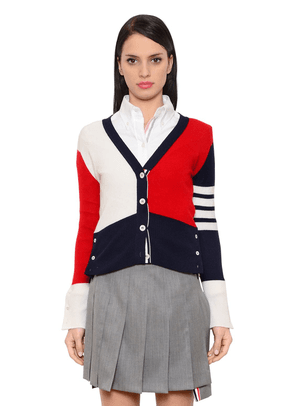Color Blocked Cashmere Knit Cardigan