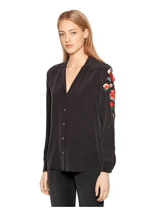 Adalyn Floral Embroidered Silk Shirt