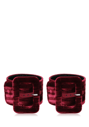 2 Crushed Velvet Buckled Ankle Cuffs
