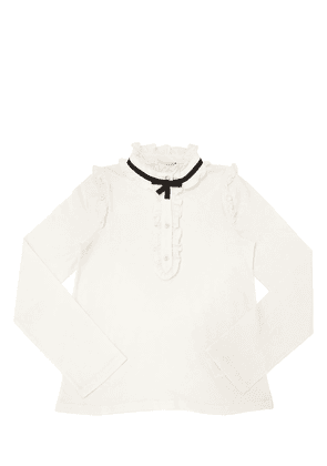 Cotton Jersey Shirt W/ Ruffles
