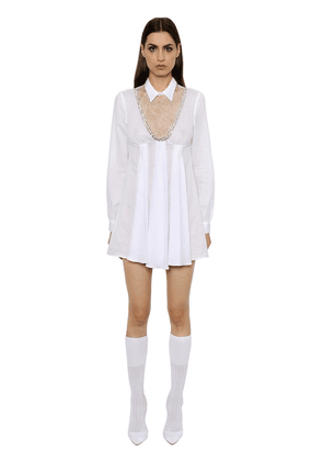 Embroidered Muslin Dress W/ Lace Insert