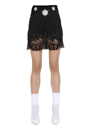Embroidered Crepe & Lace Skirt