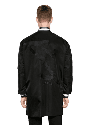 Maxi Logo Print Nylon Long Bomber Jacket