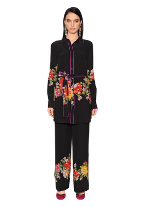 Floral Printed Silk Crepe De Chine Tunic