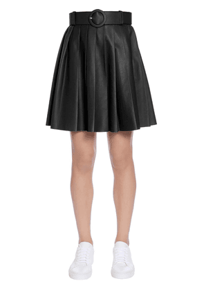 Pleated Leather Skirt With Belt