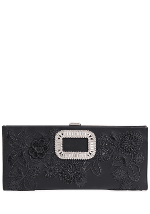 Pilgrim Embroidered Leather Clutch