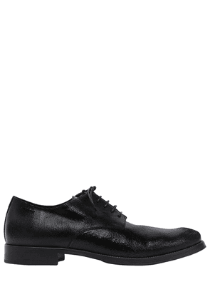 Crackle Leather Derby Lace-up Shoes