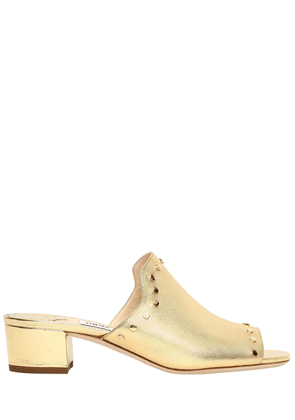 35mm Studded Metallic Leather Mules