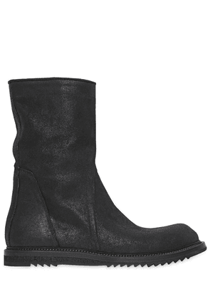 Zipped Crust Leather Boots