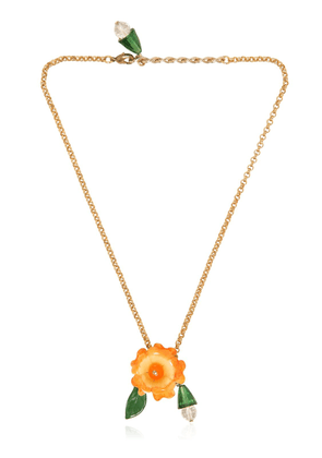 Orange Flower Pendant Necklace