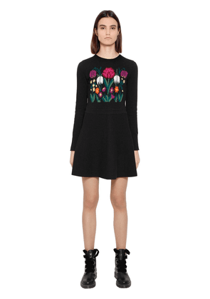 Flower Intarsia Wool Knit Dress