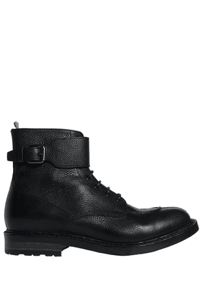 Leather Boots With Buckle Strap