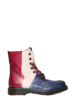 Color Block Leather Boots