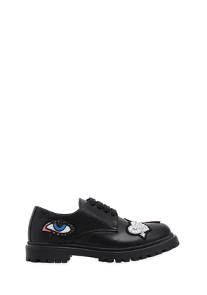 Leather Lace-up Shoes W/ Patches