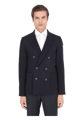 Double Breasted Wool Blend Jersey Jacket