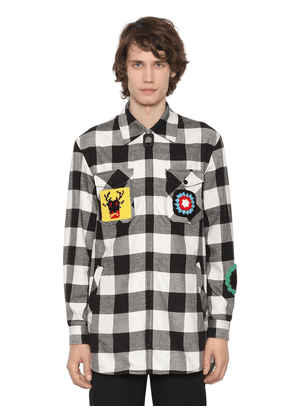 Zip-up Flannel Shirt W/ Crochet Patches
