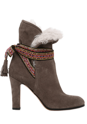 95mm Suede & Shearling Ankle Boots