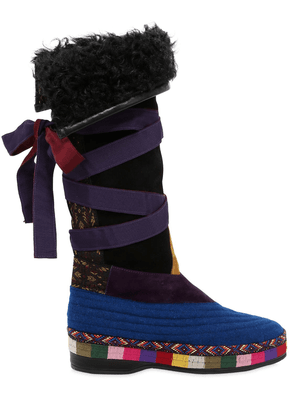 20mm Suede & Wool Boots