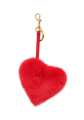 Heart Mink Fur Bag Charm