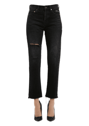 Embroidered & Ripped Cropped Denim Jeans