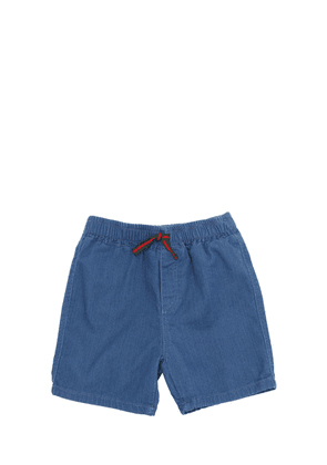 Denim Effect Cotton Sweatshorts