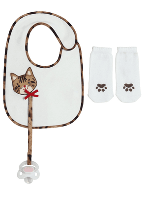 Cotton Jersey Bib, Socks & Pacifier Set
