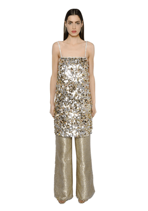 Sequined Crepe Tunic Dress