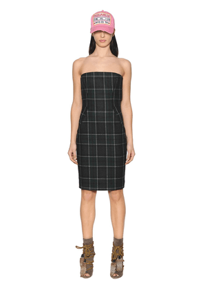 Plaid Felted Wool Bustier Dress