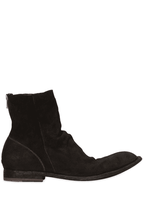Washed Deerskin Leather Cropped Boots