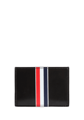 Stripe Print Brushed Leather Card Holder