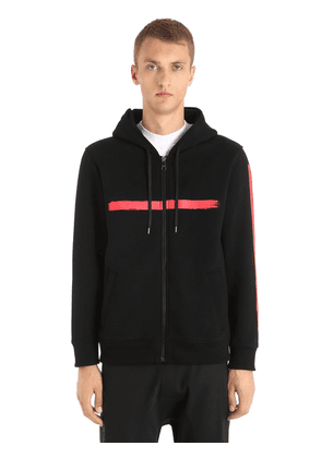 Hooded Printed Neoprene Sweatshirt