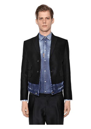 Silk Wool Jacket W/ Denim Hem