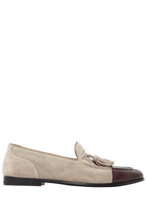 Leather & Suede Loafers W/ Tassels