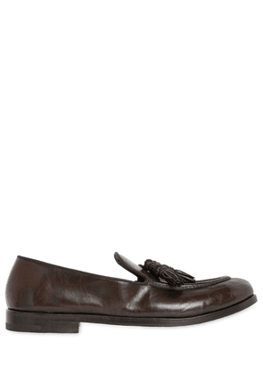 Tasseled Hand-brushed Leather Loafers