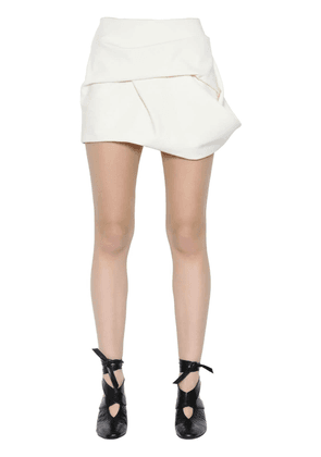 Faux Suede Draped Mini Skirt