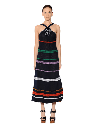 Embroidered Stripes Cotton Voile Dress