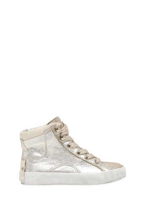 Printed Leather High Top Sneakers