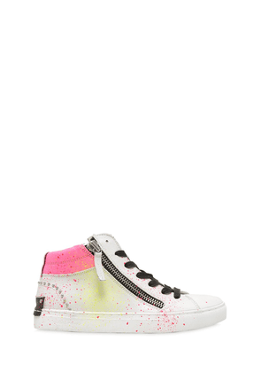 Paint Splattered Nappa Leather Sneakers