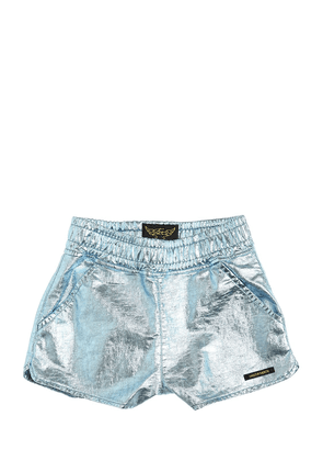Metallic Coated Cotton Jersey Shorts